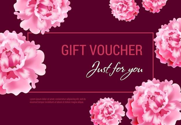 Gerade für sie geschenkgutschein mit rosa blumen und rahmen auf weinigem hintergrund. Kostenlosen Vektoren