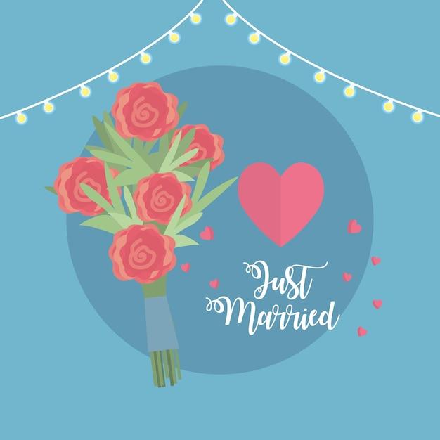 Gerade verheiratete feier mit blumenstrauß und herzen Premium Vektoren
