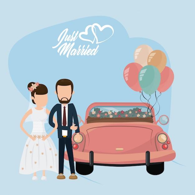 Gerade verheiratete hochzeitskarte Premium Vektoren