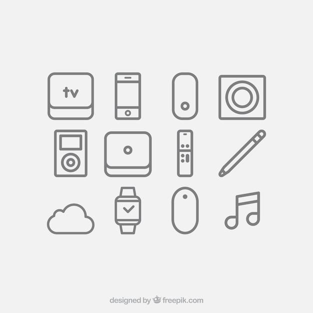 Geräte-icon-set Kostenlosen Vektoren