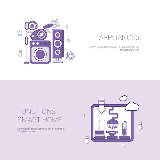 Geräte und funktionen smart home template banner Premium Vektoren