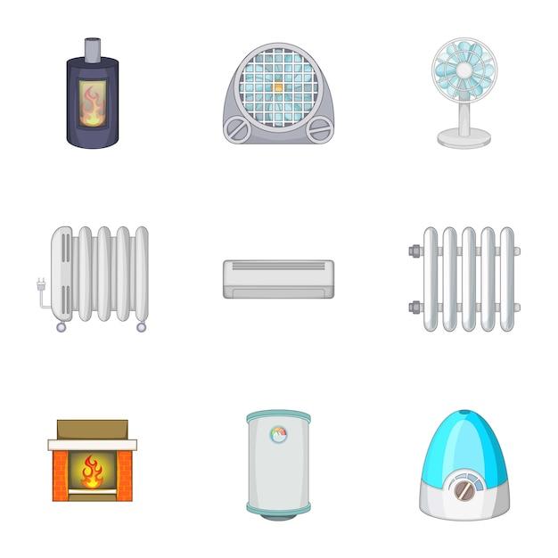 Geräte zum heizen und kühlen von häusern eingestellt Premium Vektoren