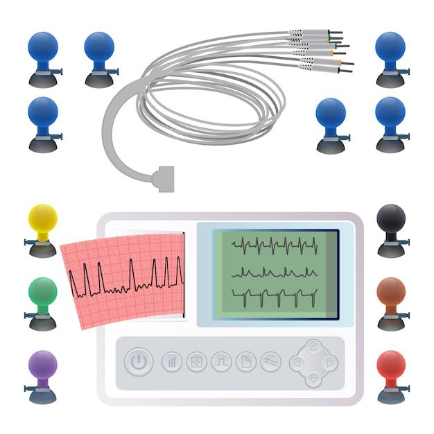 Geräte zur herstellung von elektrokardiogrammen, drahtklemmen und befestigungselementen, elektrokardiographie-ekg oder ekg-maschine Premium Vektoren