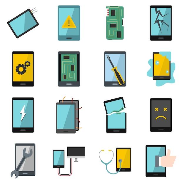 Gerätereparatursymbolikonen eingestellt in flache art Premium Vektoren