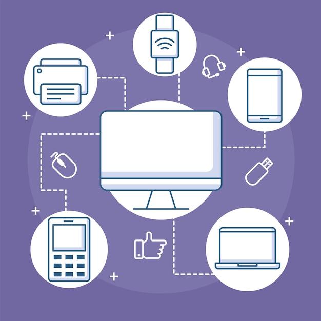 Geräteverbindungscomputer smartwatch mobiler drucker und laptop illustration linie stil Premium Vektoren