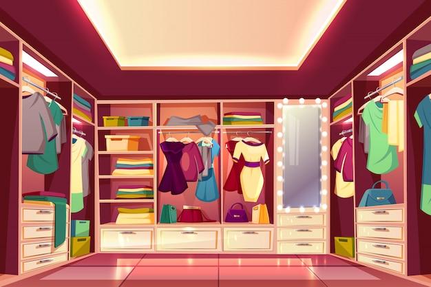 Geräumiger begehbarer kleiderschrank oder ankleideraum voller frauenkleidungskarikatur Kostenlosen Vektoren