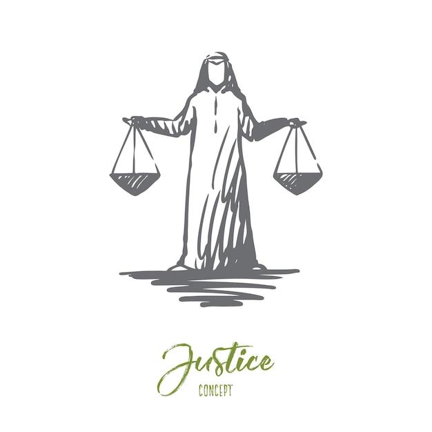 Gerechtigkeit illustration in der hand gezeichnet Premium Vektoren