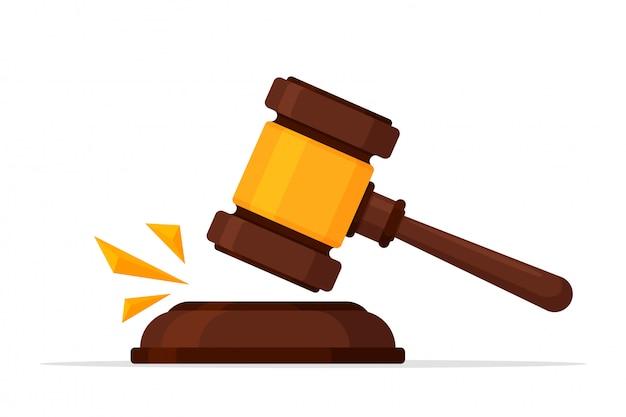 Gerechtigkeit-symbol. vector einen legalen hammer, der einen rechtsstreit vor dem gerichtshof abschlug. Premium Vektoren