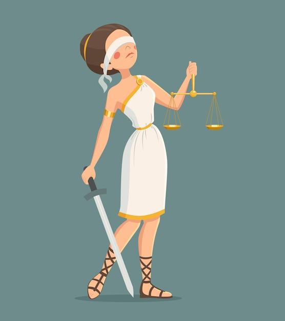 Gerechtigkeits-dame illustration Kostenlosen Vektoren