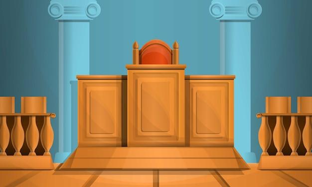 Gerichtsgebäude-illustrationskarikaturart Premium Vektoren
