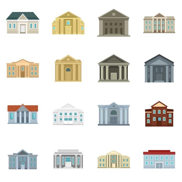 Gerichtsgebäude symbole festgelegt Premium Vektoren