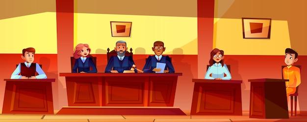 Gerichtshörungsillustration des gerichtssaalinnenhintergrundes. richter, staatsanwalt oder anwalt Kostenlosen Vektoren