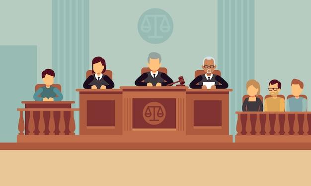 Gerichtssaalinnenraum mit richtern und rechtsanwalt. Premium Vektoren