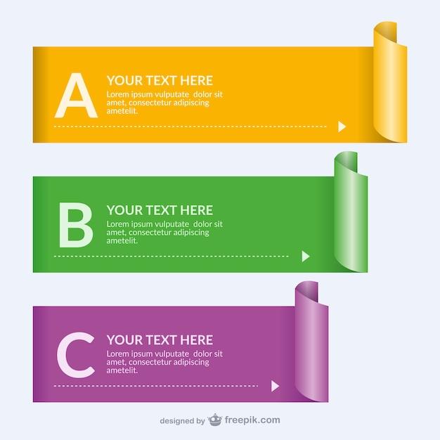 Gerolltes papier banner-vorlagen Kostenlosen Vektoren