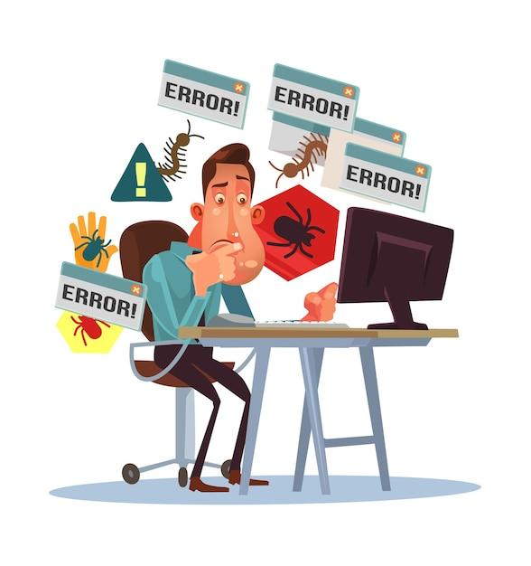 Geschäft beängstigender depressiver manncharakter mit gebrochenem computer. Premium Vektoren