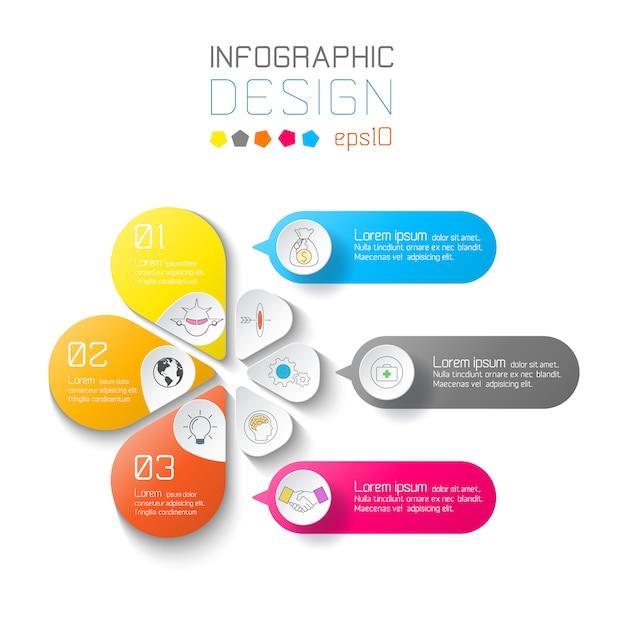 Geschäft beschriftet infographik auf zwei schichten kreisstange. Premium Vektoren
