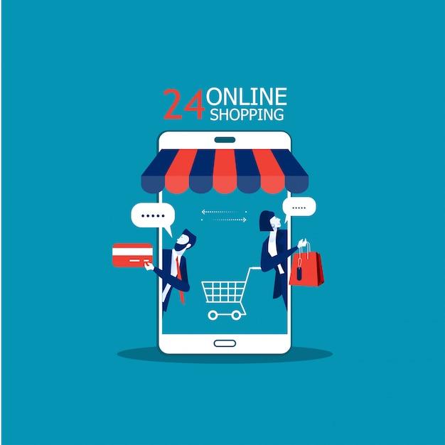 Geschäft fördern shopspeicher auf smartphone und kaufen on-line-konzeptillustrator Premium Vektoren