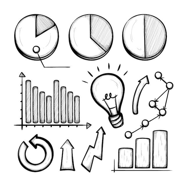Geschäft hand gezeichnete infographik elemente Kostenlosen Vektoren