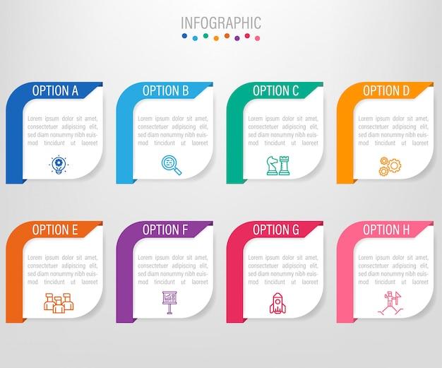Geschäft infografik etiketten vorlage mit 8 optionen Premium Vektoren