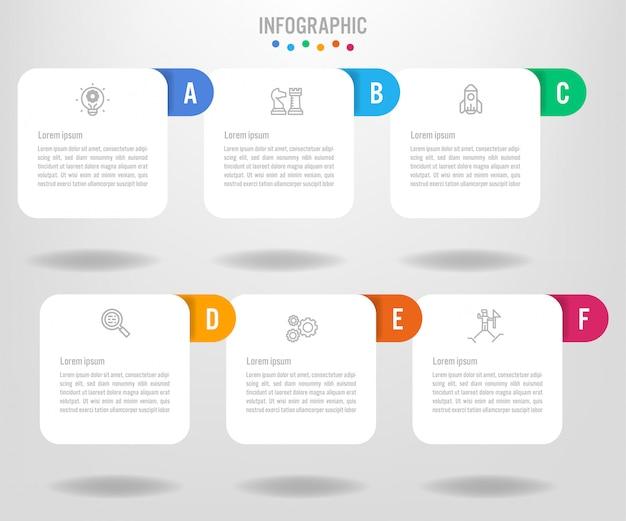 Geschäft infografik etiketten vorlage mit optionen Premium Vektoren