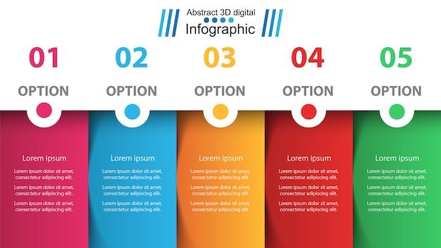 Geschäft infografik. fünf papierartikel. Premium Vektoren