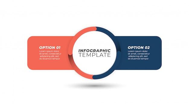 Geschäft infografik. kreatives design mit 2 wahlen, kreishauptideenkonzept. vorlage. Premium Vektoren