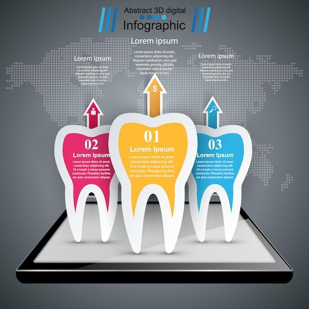 Geschäft infografiken origami-stil. zahn-symbol Premium Vektoren