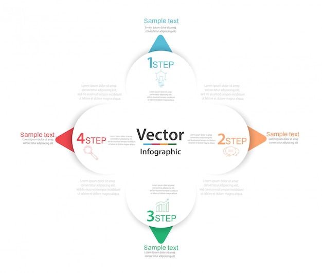 Geschäft infographic mit vier runden weißen papierelementen mit pfeilen oder zeigern Premium Vektoren