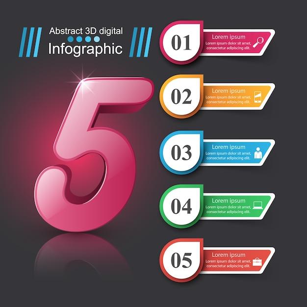 Geschäft infographic. nummernsymbol Premium Vektoren