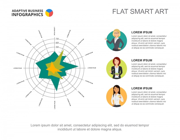 Geschäft infographics mit konzentrischen kreisen und charakterikonen. Kostenlosen Vektoren