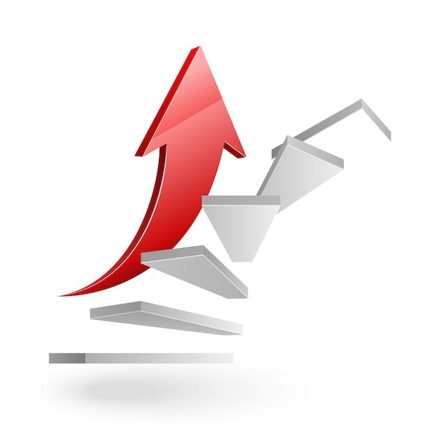 Geschäft steigt die treppe zum erfolg mit rotem pfeil auf weiß Kostenlosen Vektoren