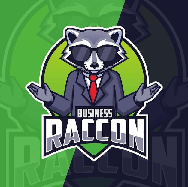 Geschäft waschbär maskottchen logo design Premium Vektoren