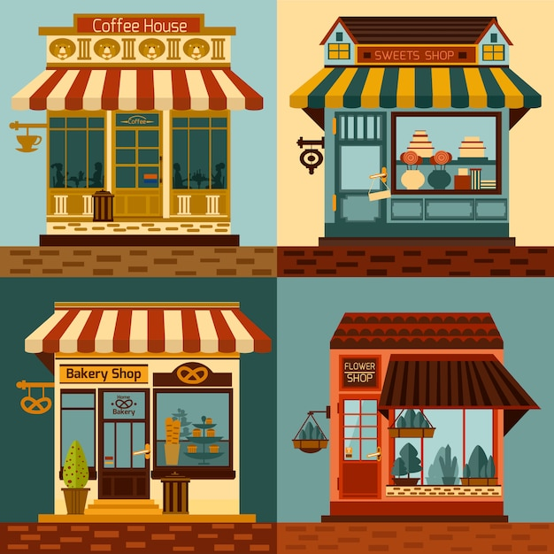Geschäfte fassaden set Kostenlosen Vektoren
