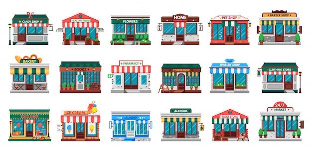 Geschäfte fassaden. wäscherei gebäude, baumarkt fassade und apotheke shop flat set Premium Vektoren