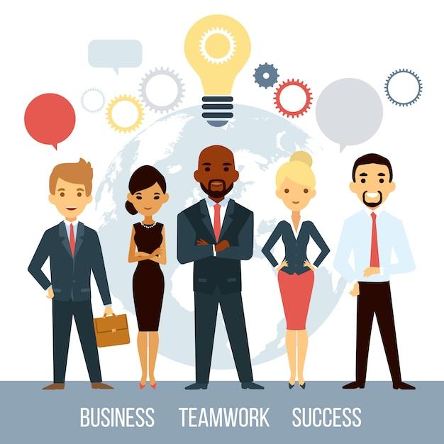 Geschäftliche zusammenarbeit von menschen weltweit Kostenlosen Vektoren