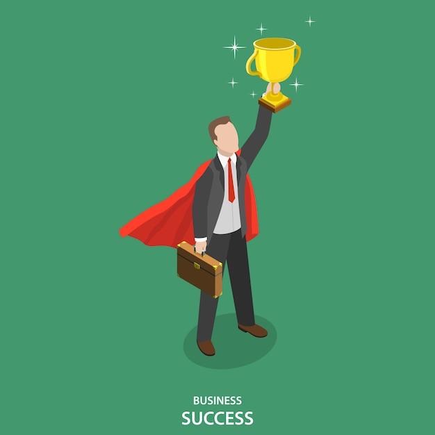 Geschäftlicher erfolg. gewinner des geschäftswettbewerbs. Premium Vektoren