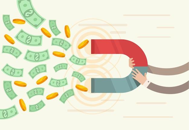 Geschäftlicher erfolg. magnet ziehen geld an. Premium Vektoren