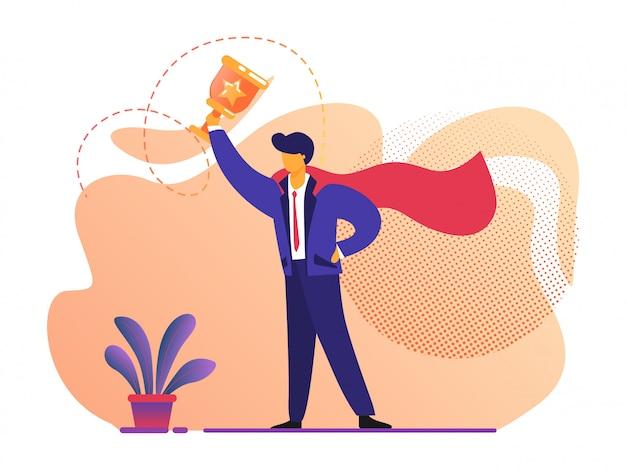 Geschäftlicher erfolg. mann im superheld-roten mantel, der in der hand goldbecher hält. Premium Vektoren