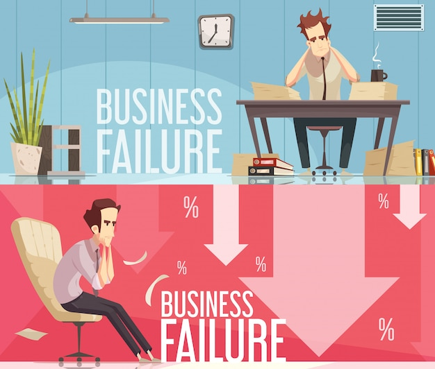 Geschäfts-ausfall 2 retro karikatur-plakate Kostenlosen Vektoren
