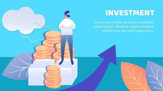 Geschäfts-investitions-flache fahnen-vektor-schablone Premium Vektoren