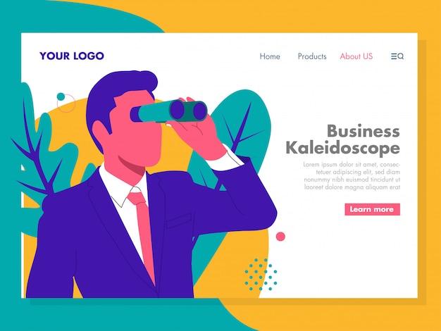 Geschäfts-kaleidoskop-illustration für zielseite Premium Vektoren