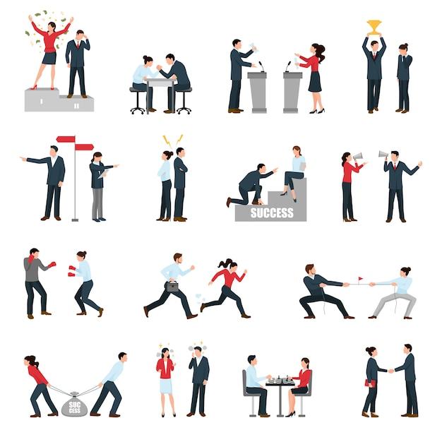 Geschäfts-konfrontations-leute-flache ikonen eingestellt Kostenlosen Vektoren