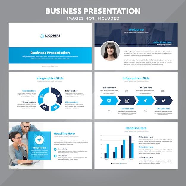 Geschäfts-präsentations-schablone im flachen art-vektor Premium Vektoren