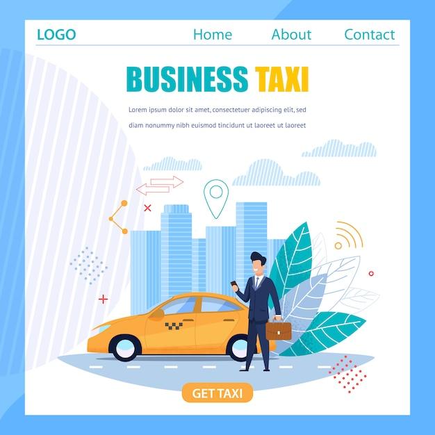 Geschäfts-taxi-fahne und gelbes fahrerhaus-moderner beweglicher service Premium Vektoren