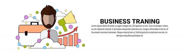 Geschäfts-trainings-bildungs-konzept-horizontale fahnenschablone Premium Vektoren