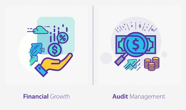 Geschäfts- und finanzikonen, finanzielles wachstum, revisionsmanagement Premium Vektoren