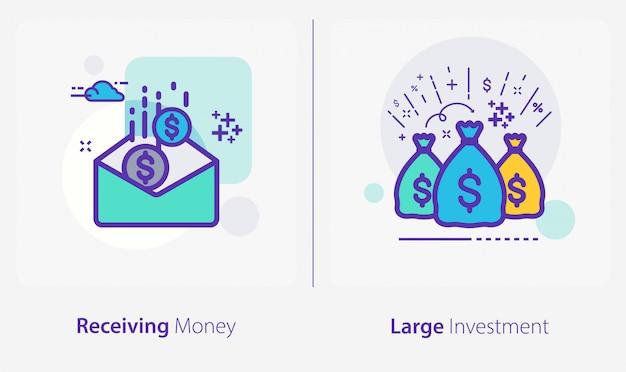 Geschäfts- und finanzikonen, geld empfangend, große investition Premium Vektoren
