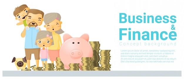 Geschäfts- und finanzkonzeptfahne mit der familie, die geld spart Premium Vektoren