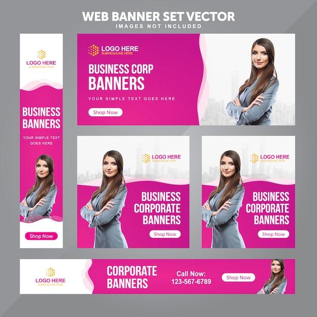 Geschäfts-web-fahnen-gesetzte vektor-hintergrund-schablonen Premium Vektoren