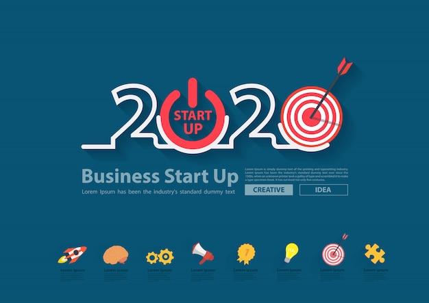 Geschäftsanlaufplan für das neue jahr 2020 Premium Vektoren